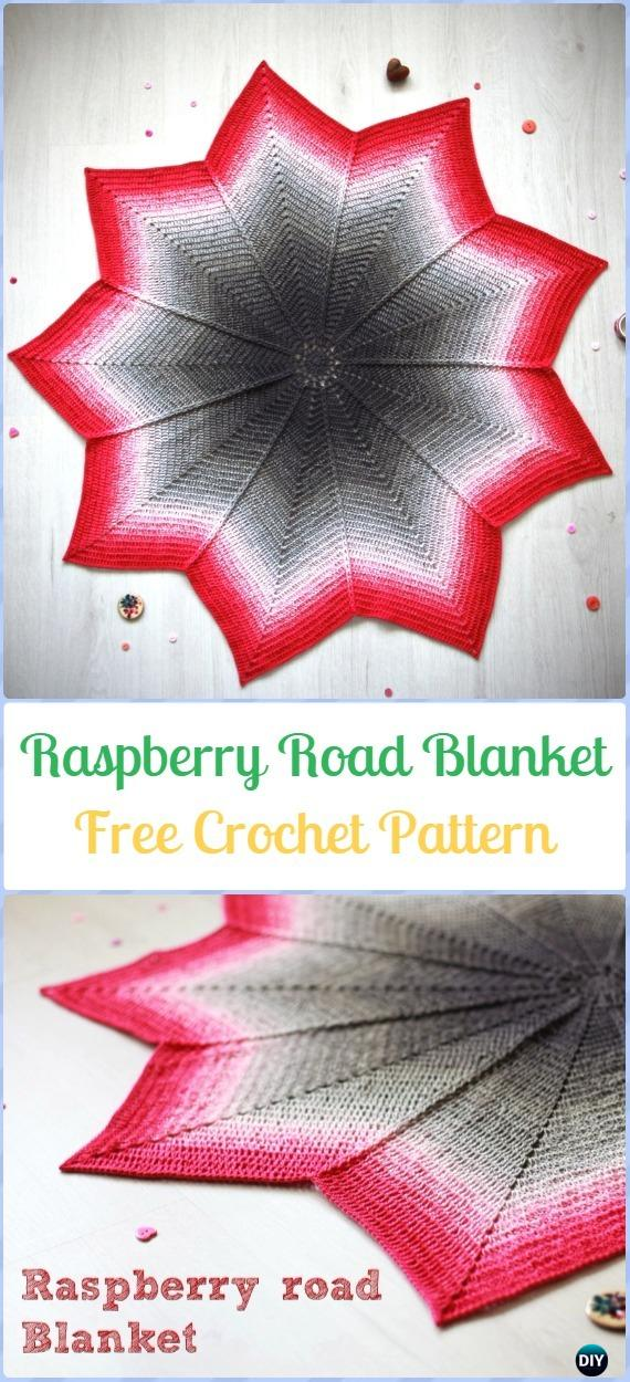Crochet Raspberry Road Blanket Free Pattern-Crochet Circle Blanket Free Patterns