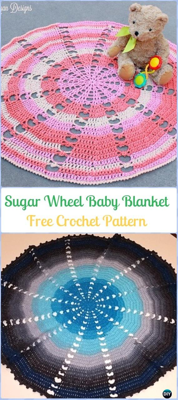 Crochet Sugar Wheel Baby Blanket Free Pattern-Crochet Circle Blanket Free Patterns