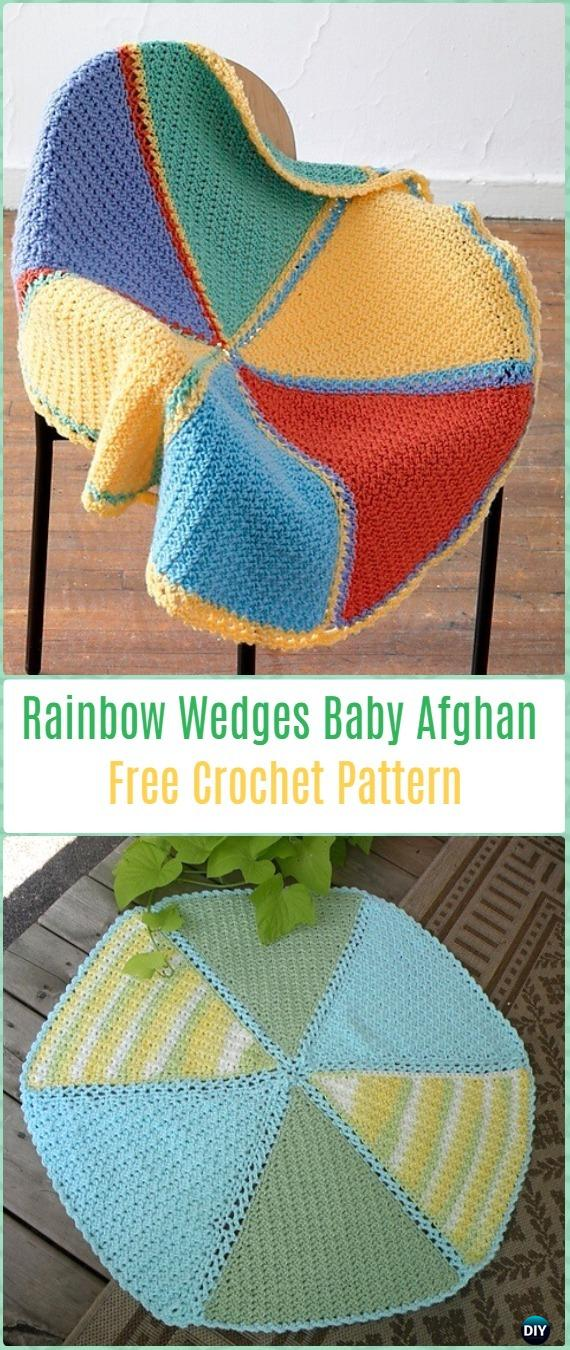 Crochet Rainbow Wedges Baby Afghan Free Pattern-Crochet Circle Blanket Free Patterns