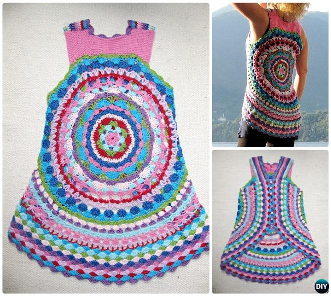 DIY Crochet Flower Power Circle Vest Free Pattern-Crochet Circular Vest Sweater Jacket Pattern