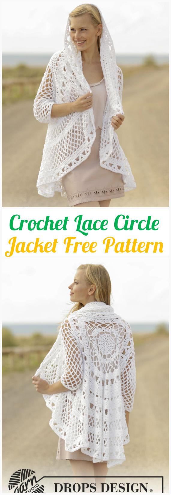 DIY Crochet Lace Circle Jacket Free Pattern-Crochet Circular Vest Sweater Jacket Patterns