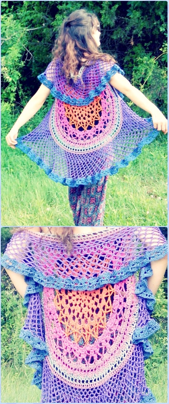 DIY Crochet Mandala Duster Motif Sweater Instruction-Crochet Circular Vest Sweater Jacket Free Patterns