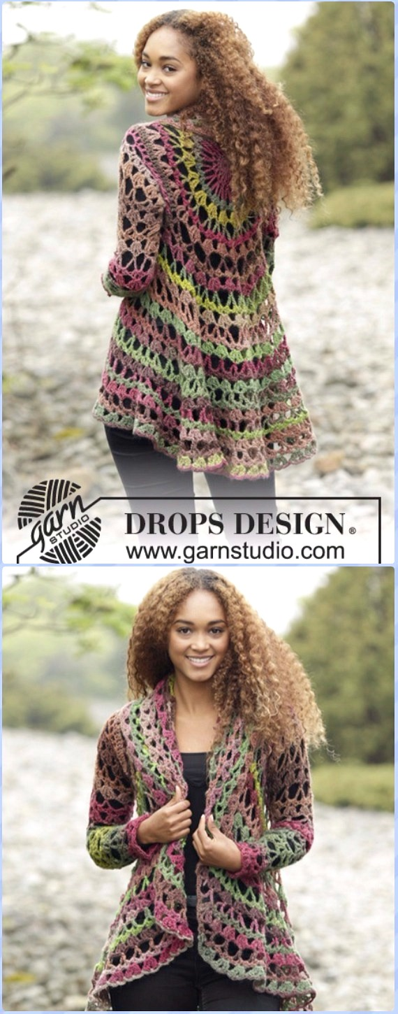 DIY Crochet Circular Vest Sweater Jacket Free Pattern - fall forest