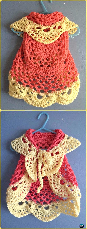 DIY CrochetSunshine Circle Vest Free Pattern -Crochet Little Girl Circle Vest Sweater Coat Free Patterns