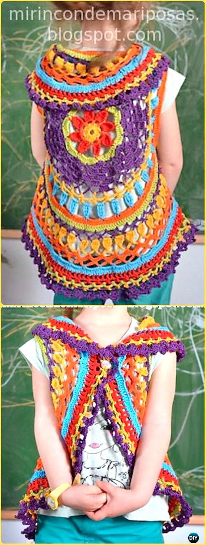 DIY Crochet Circle Shrug Instruction-Crochet Little Girl Circle Vest Sweater Coat Free Patterns