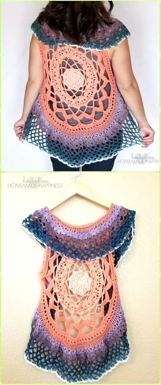 DIY Crochet Pegasus Mandala Vest Free Pattern-Crochet Circular Vest Sweater Jacket Pattern