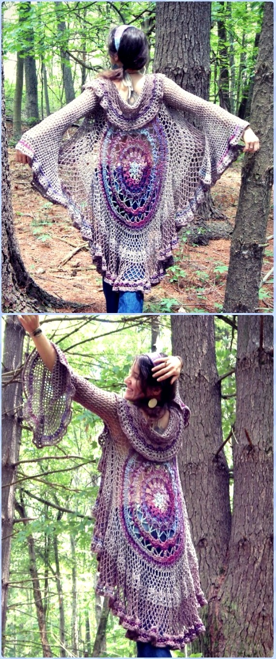 DIY Crochet Mandala Duster Motif Sweater Instruction-Crochet Circular Vest Sweater Jacket Free Pattern