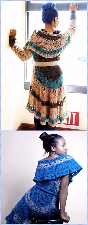 Crochet Circle Wrap Coat Free Pattern -Crochet Circular Vest Sweater Jacket Patterns