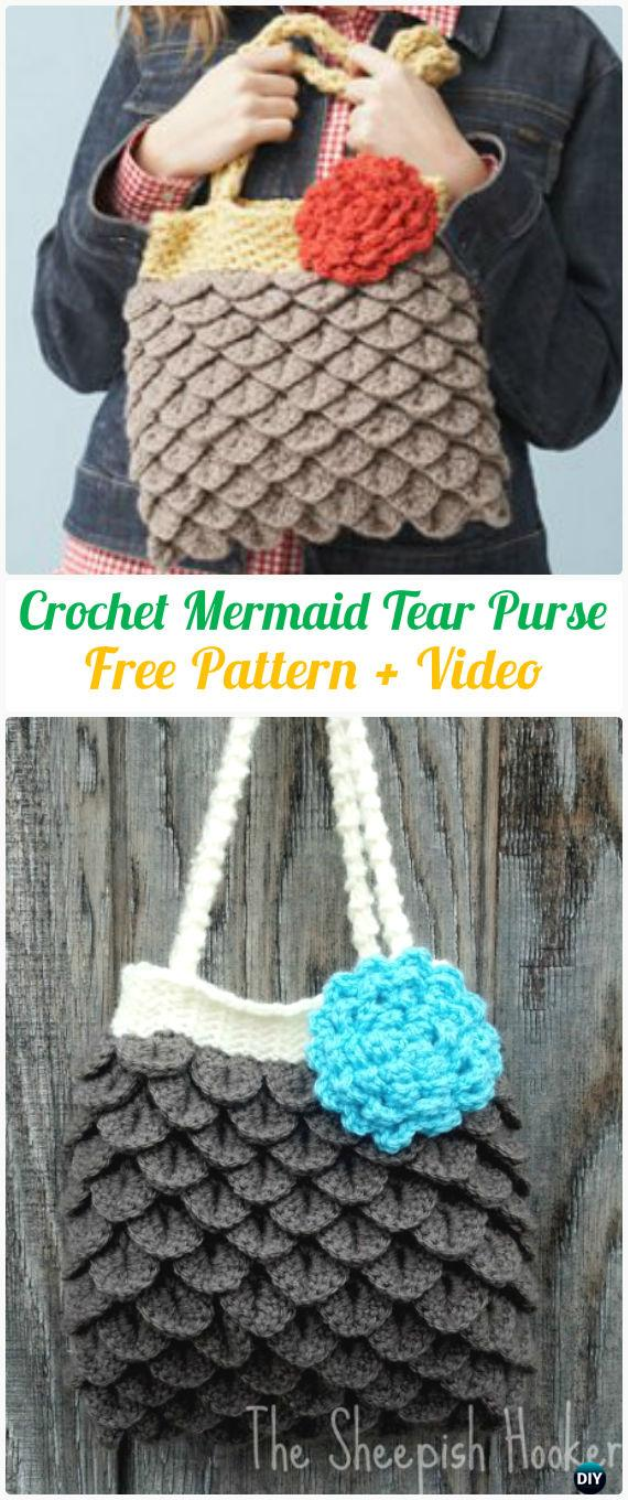 Crochet Crocodile Stitch Mermaid Tears Purse Free Pattern [Video]- #Crochet Clutch Bag Free Patterns