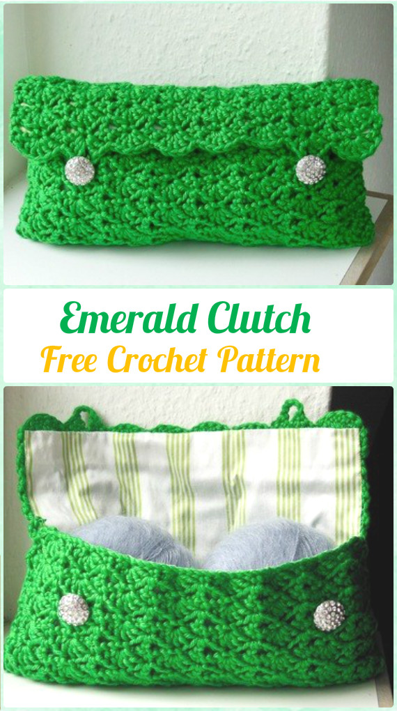 Crochet Emerald Clutch Free Pattern - Crochet Clutch Bag & Purse Free Patterns