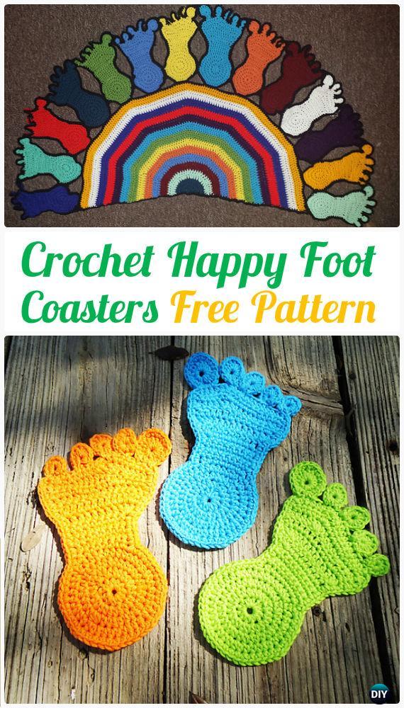 Crochet Happy Foot Coasters FreePattern- Crochet Coasters Free Patterns