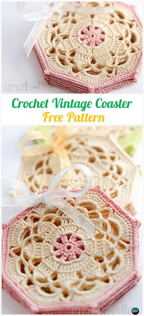 Crochet Vintage Octagon Coasters FreePattern- Crochet Coasters Free Patterns