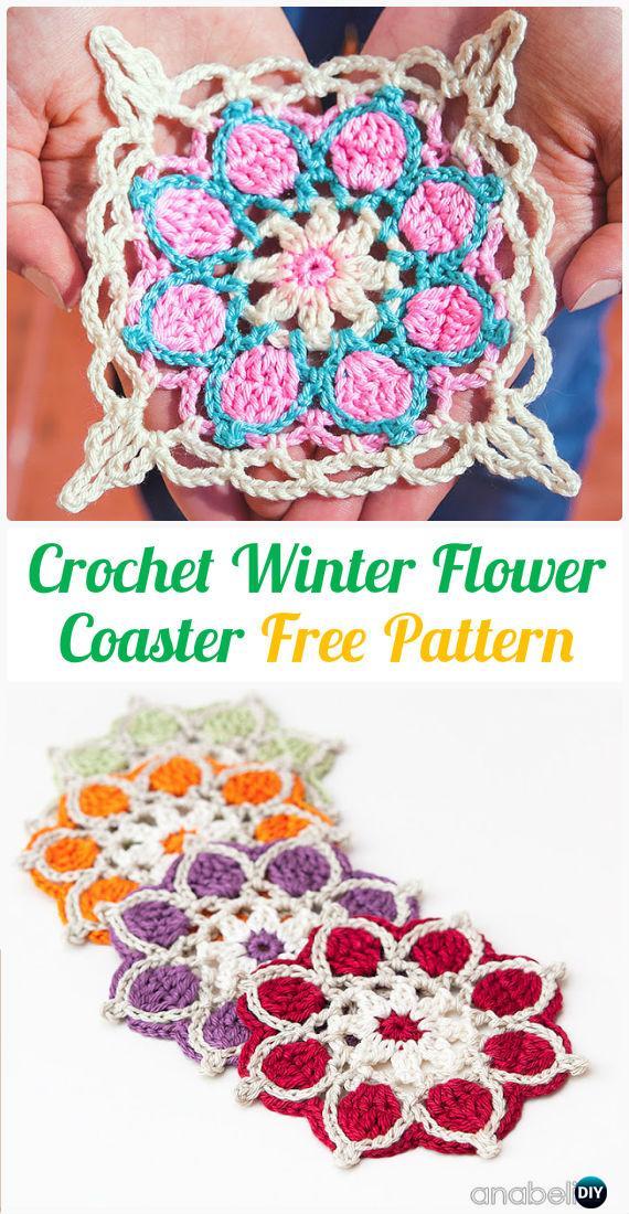 Crochet Winter Flower Coasters FreePattern- Crochet Coasters Free Patterns