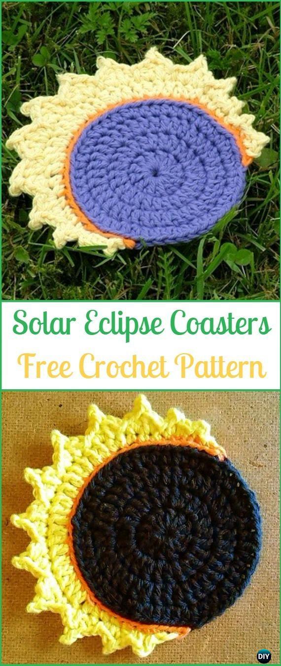 Crochet Solar Eclipse Coasters Free Pattern - Crochet Coasters Free Patterns