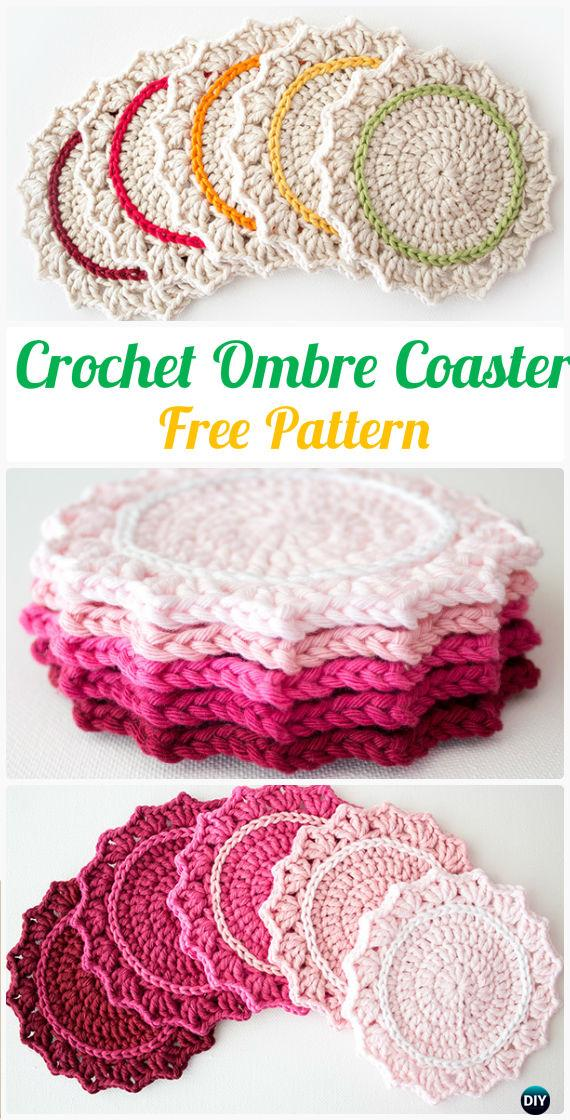 Crochet Ombre Coaster Free Pattern - Crochet Coasters Free Patterns