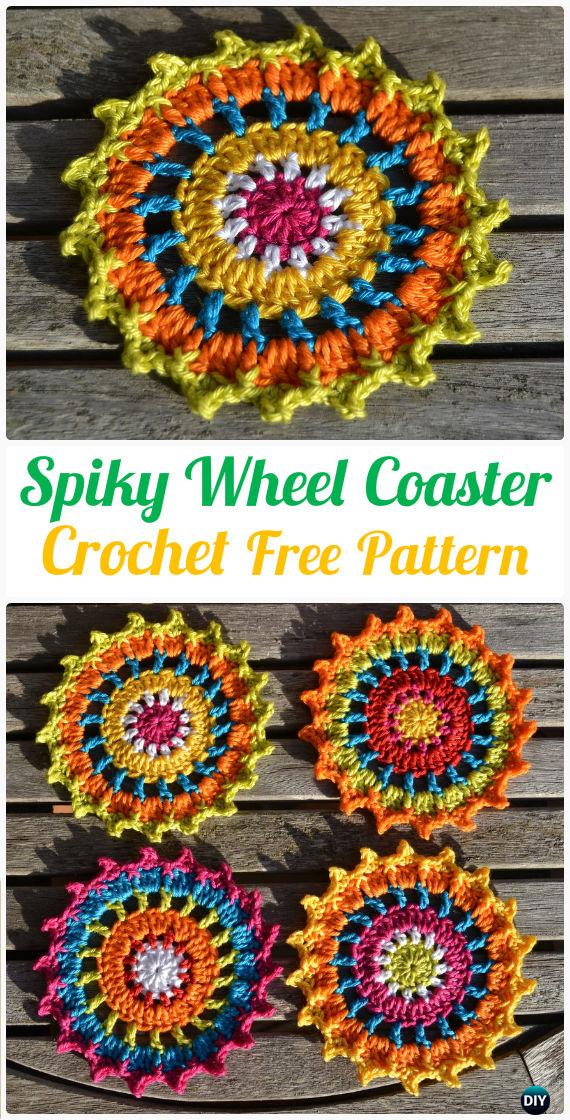 Crochet Spiky Wheel Coaster Free Pattern - Crochet Coasters Free Patterns