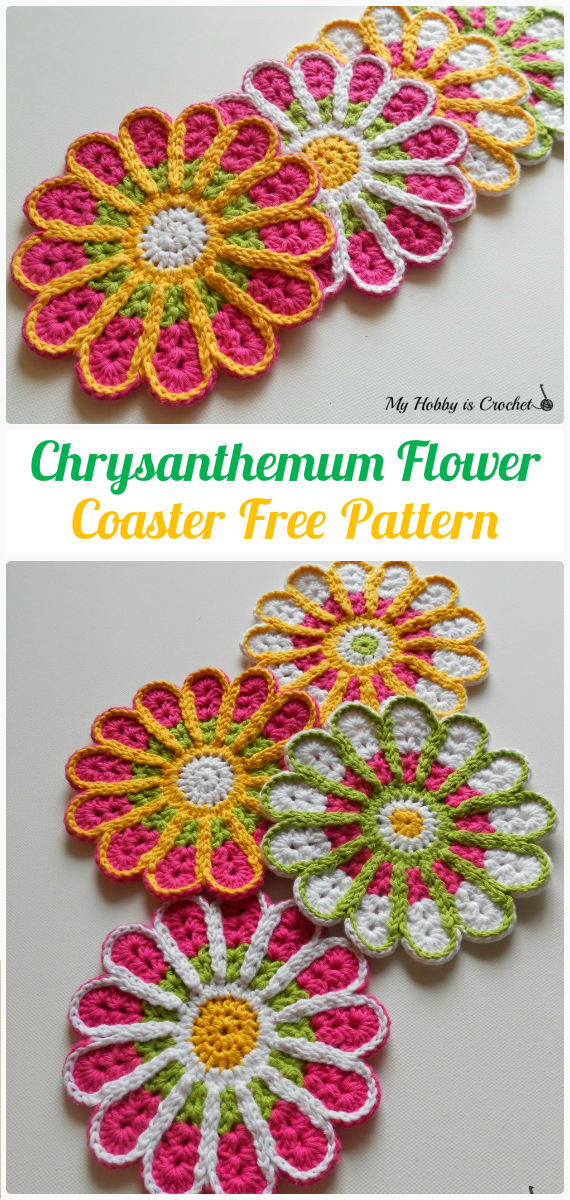 Crochet Chrysanthemum Flower Coaster Free Pattern - Crochet Coasters Free Patterns