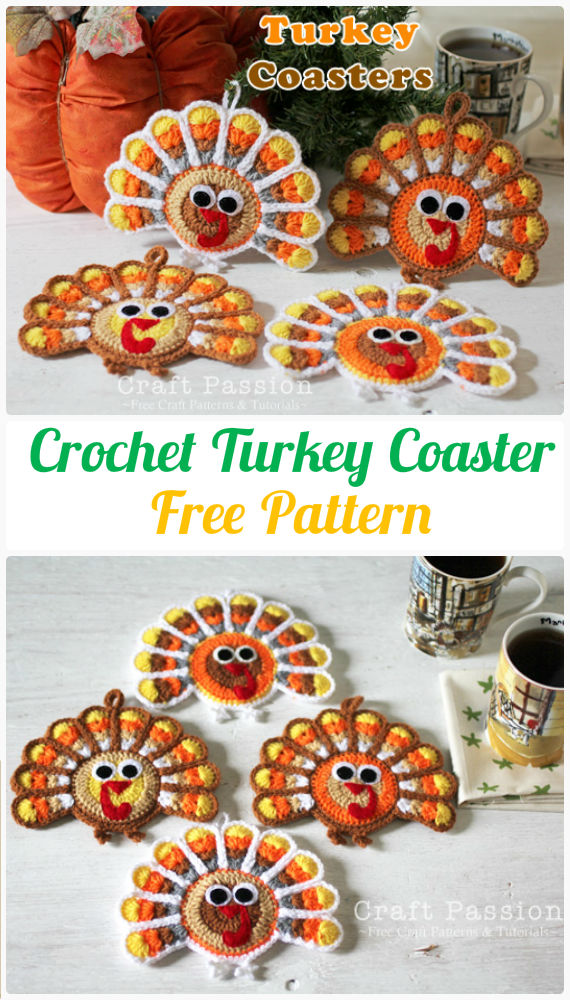 Crochet Turkey Coaster Free Pattern - Crochet Coasters Free Patterns