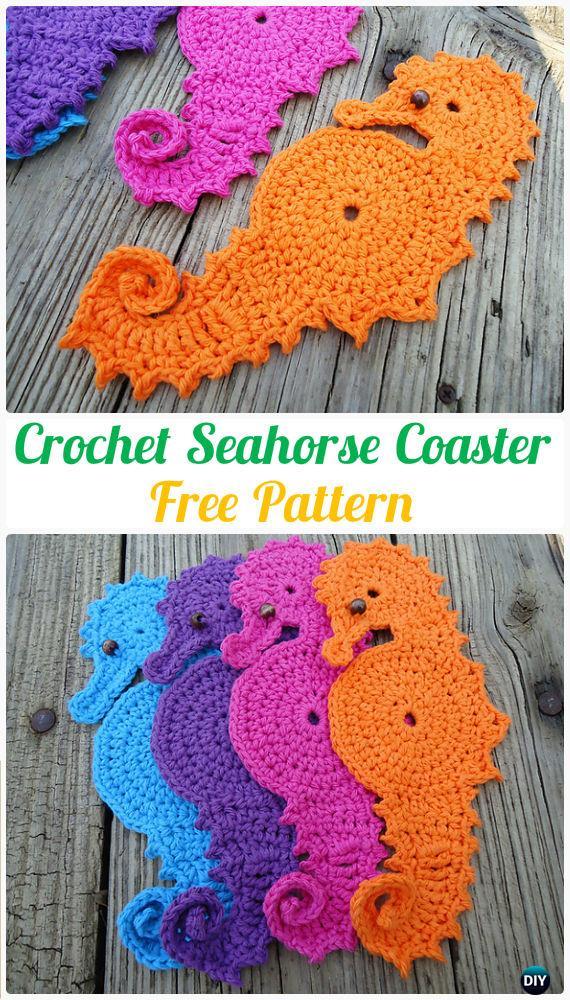 Crochet Seahorse Coaster FreePattern- Crochet Coasters Free Patterns