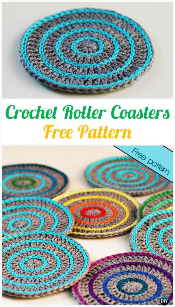 Crochet Roller Coasters FreePattern- Crochet Coasters Free Patterns