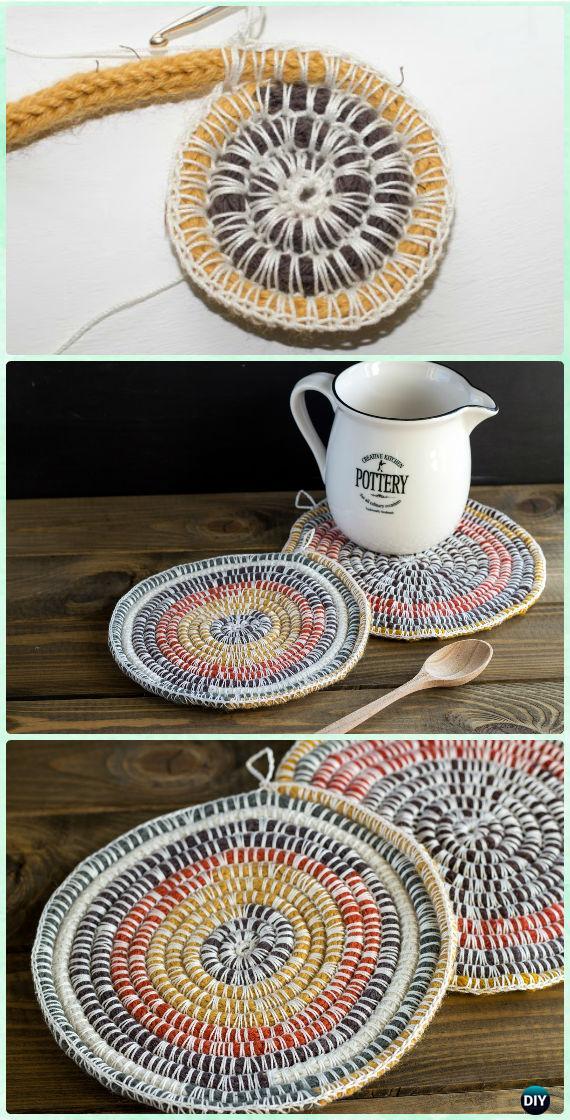Crochet Cord Coaster Free Pattern - Crochet Coasters Free Patterns