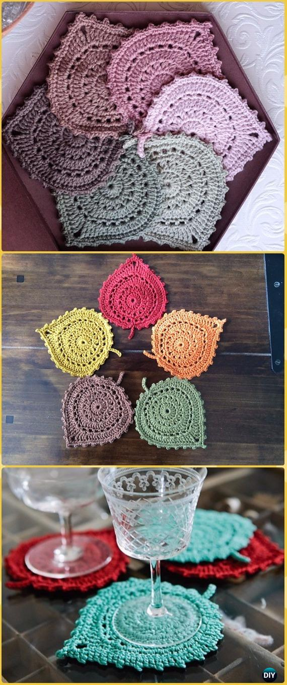 Crochet Lace Leaf Coasters Free Pattern - Crochet Coasters Free Patterns