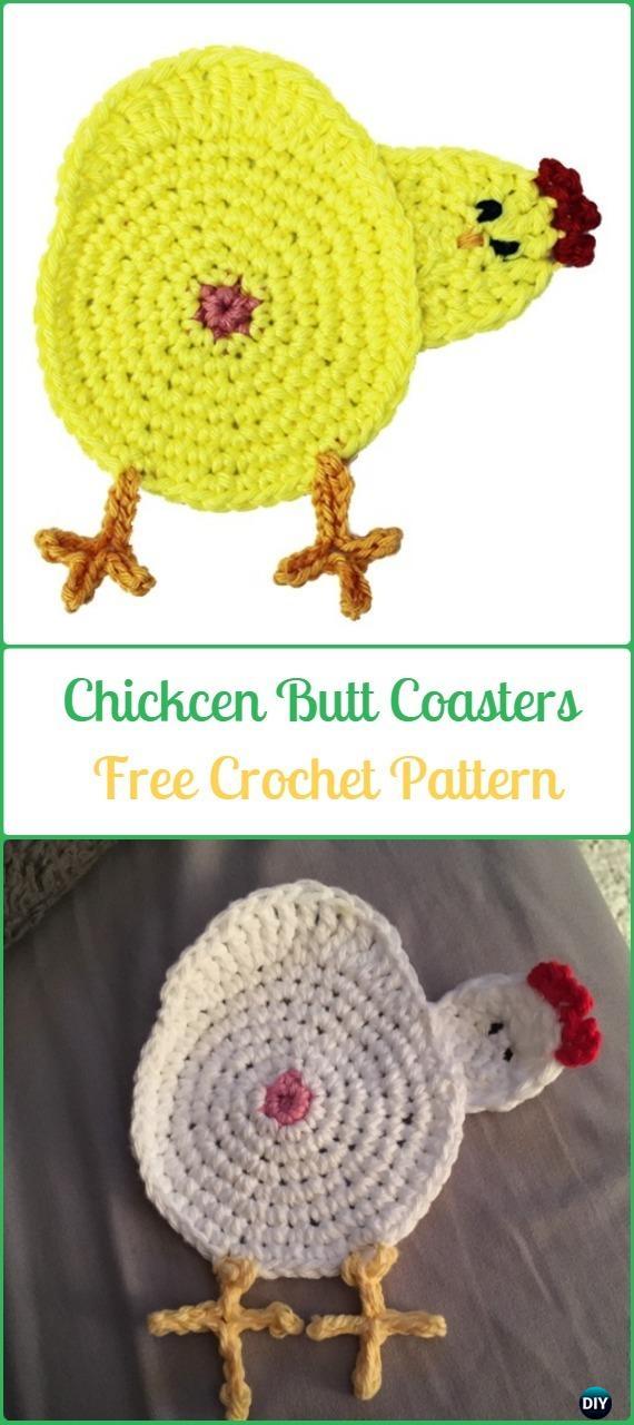 Crochet Chicken Butt Coaster Free Pattern Crochet Coasters Free