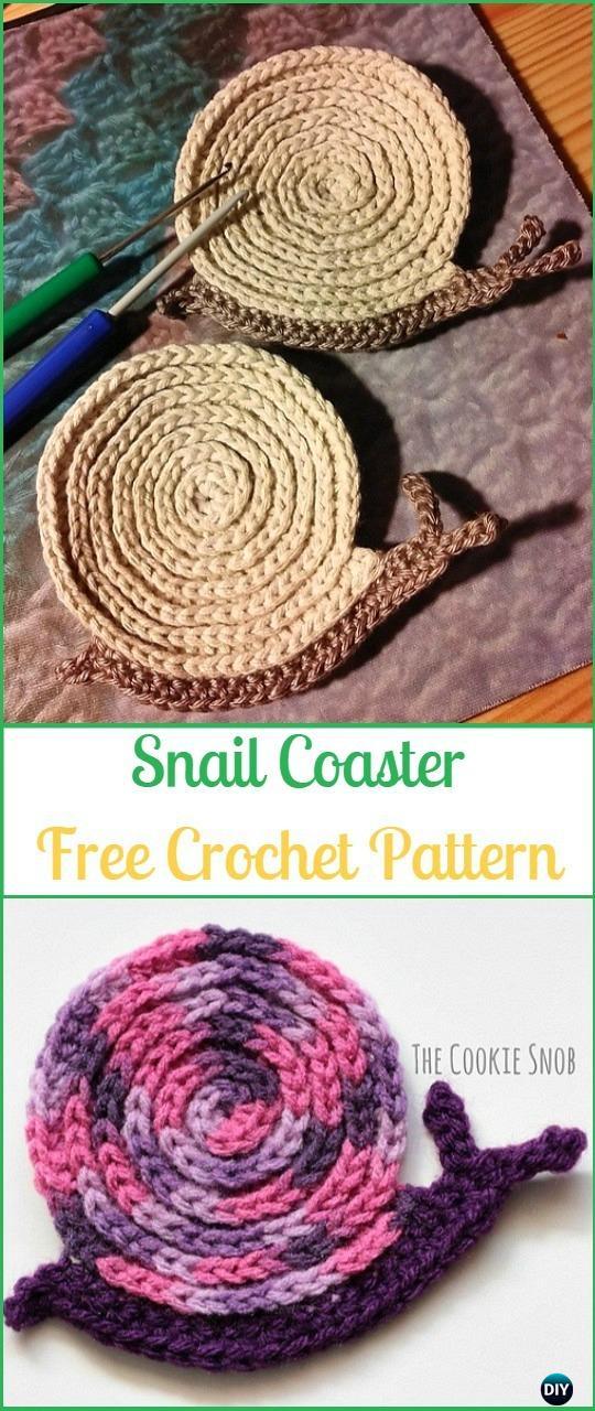 Crochet Snail Coaster Free Pattern - Crochet Coasters Free Patterns