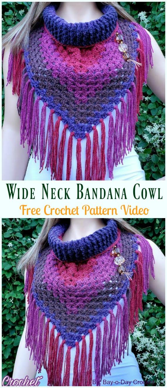 Wide Neck Bandana Cowl Crochet Free Pattern Video Tutorial- #Crochet #Cowl & Infinity Scarf Free Patterns