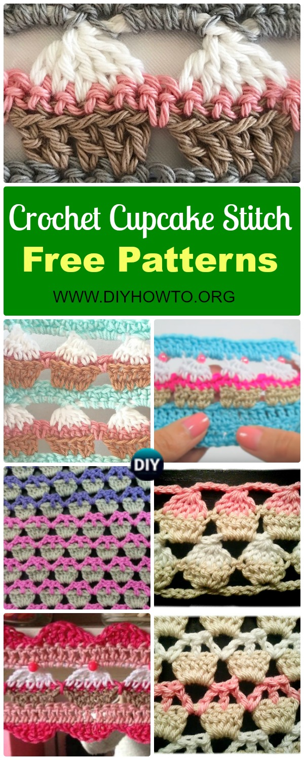 Collection of Crochet Cupcake Stitch Free Patterns: an fun and easy stitch for beginners with mainly double crochet, and some variations