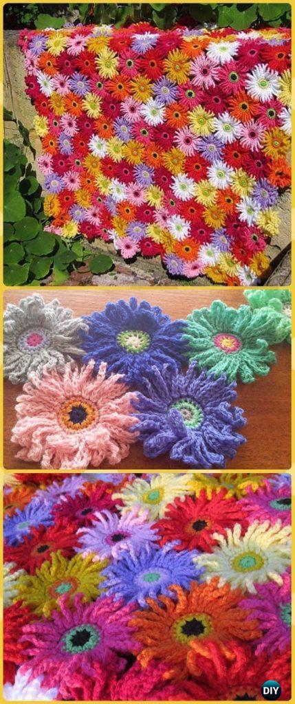 Crochet Gerbera Garden Blanket Paid Pattern Crochet Daisy Flower