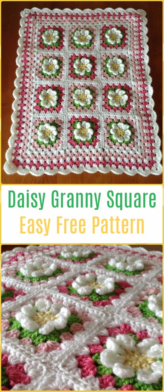 Easy Crochet Daisy Granny Square Blanket - Crochet Daisy Flower Blanket Free Patterns