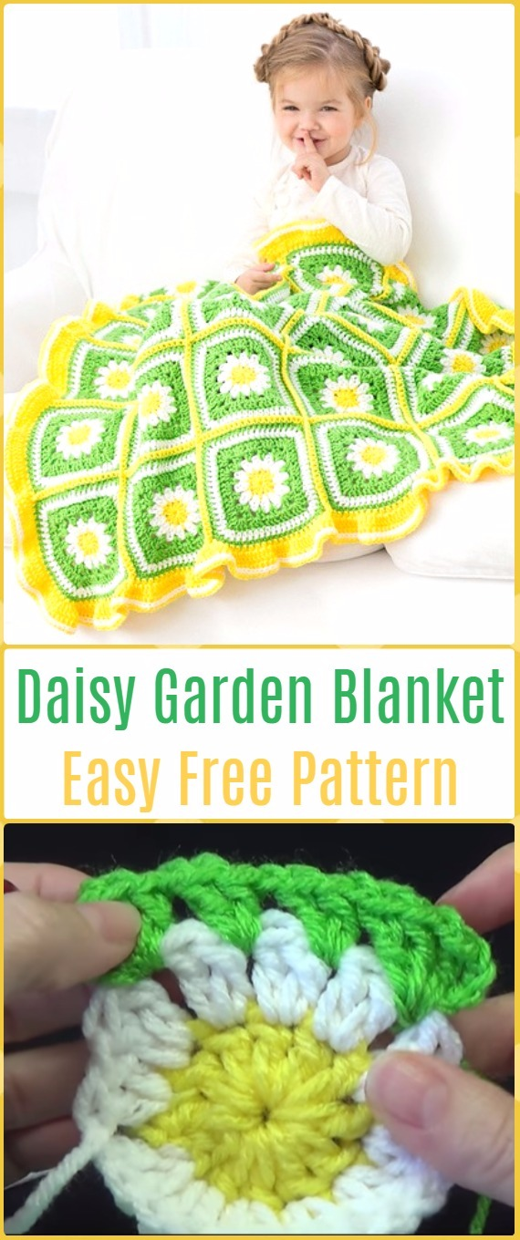 Crochet Daisy Garden Blanket Free Pattern with Video - Crochet Daisy Flower Blanket Free Patterns