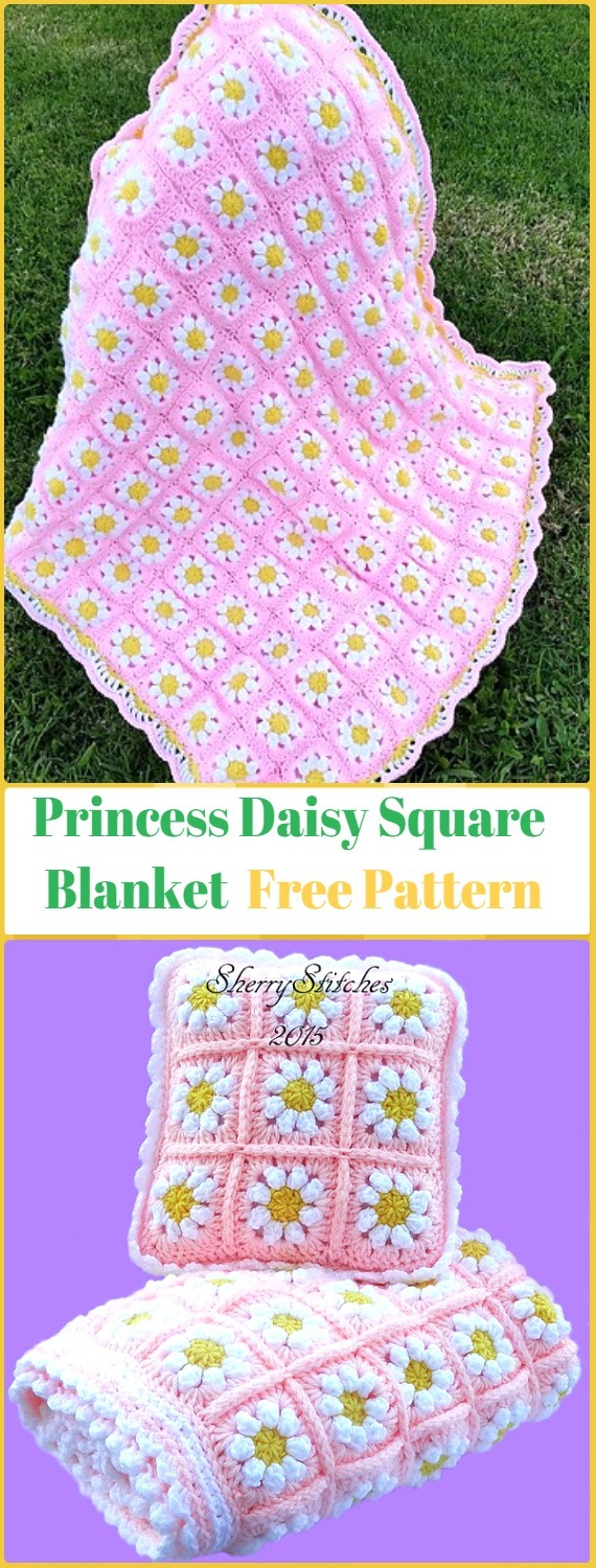 Crochet Princess Daisy's Flower Blanket Free Pattern - Crochet Daisy Flower Blanket Free Patterns