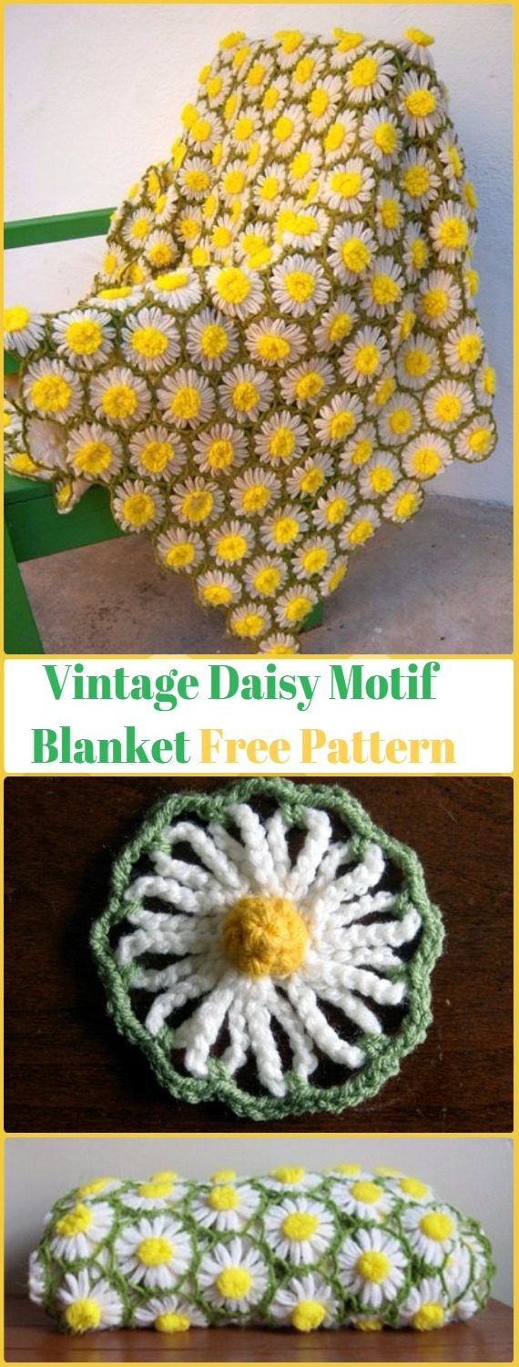 Crochet Vintage Daisy Motif Blanket Free Pattern with Video - Crochet Daisy Flower Blanket Free Patterns