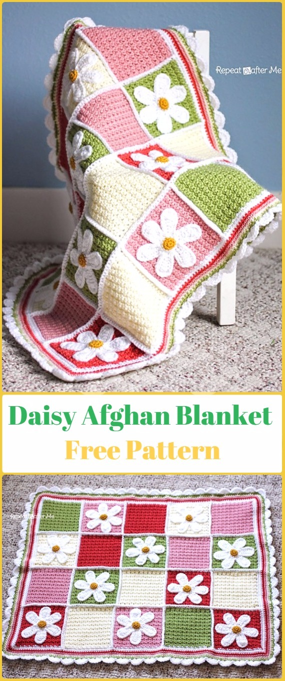 Crochet Daisy Afghan Free Pattern - Crochet Daisy Flower Blanket Free Patterns