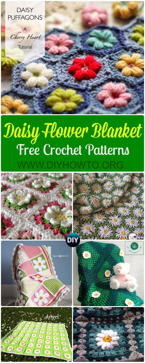 Crochet Daisy Flower Blanket Free Patterns & Instructions: Crochet Bobble Daisy  Puffagon Daisy Blanket, Mittered Daisy Afghan, Wide Daisy Baby Gift