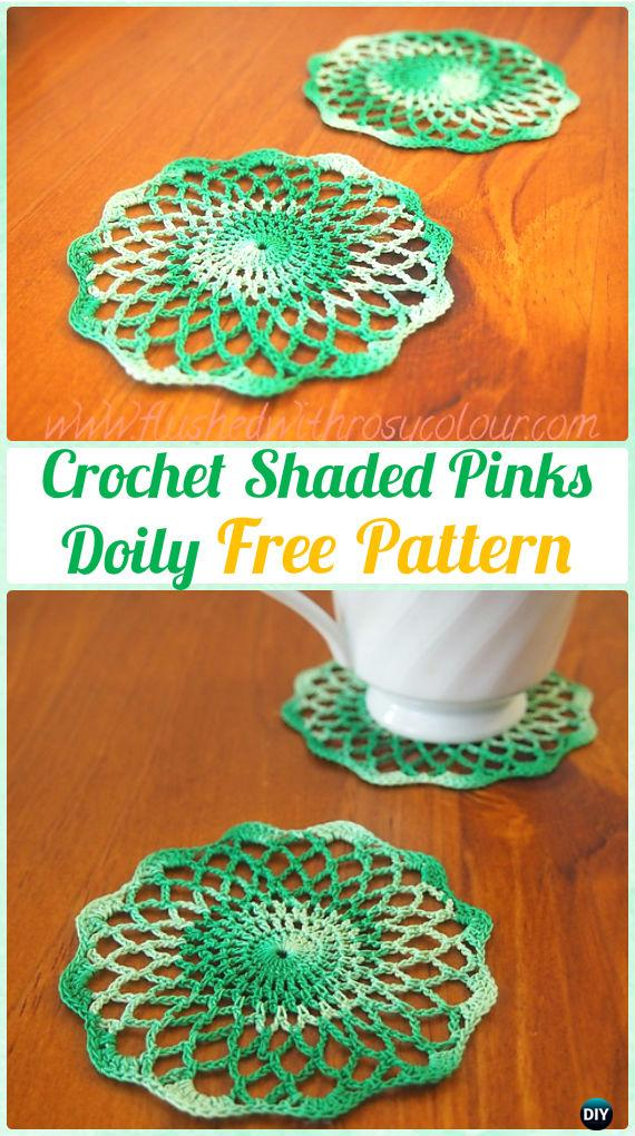 Crochet Shaded Pinks Doily Free Pattern - Crochet Doily Free Patterns