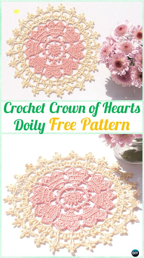 Crochet Crown Of Hearts Doily Free Pattern Crochet Doily Free