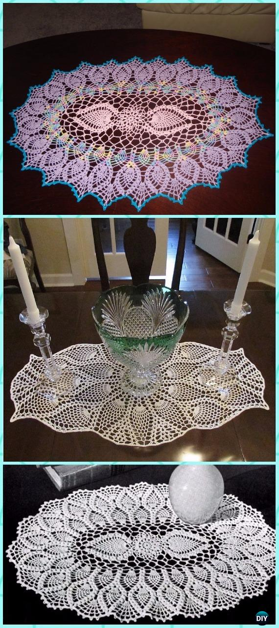 Crochet Oval Pineapple Doily Free Pattern - Crochet Doily Free Patterns