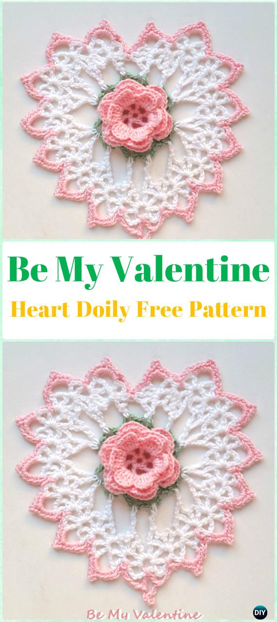 Crochet Be My Valentine Heart Doily Free Pattern - Crochet Doily Free Patterns