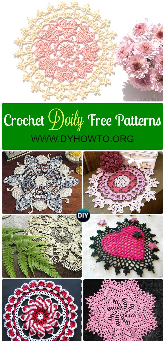 Collection of Crochet Doily Free Patterns: Swan doily, pinwheel doily, flower doily, heart doily, lace doily, table runner, table cloth