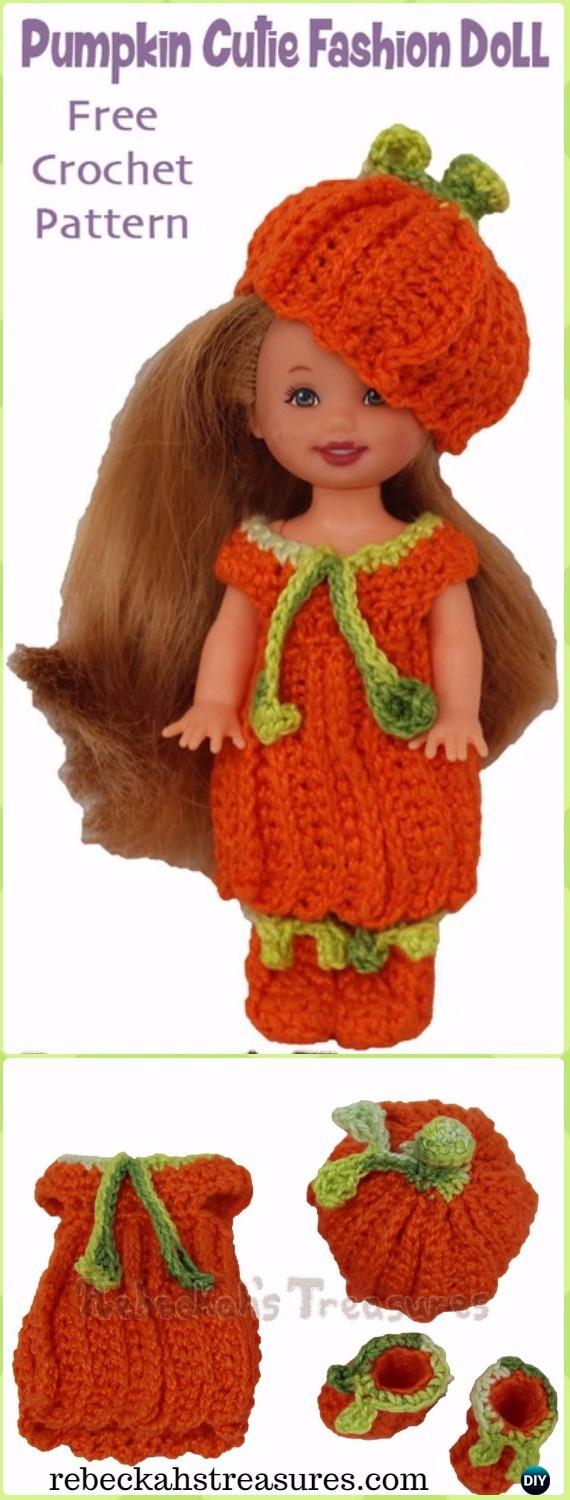 Crochet Textured Pumpkin Cutie Child Fashion Doll Free Pattern-Crochet Doll Clothes Outfits Free Patterns