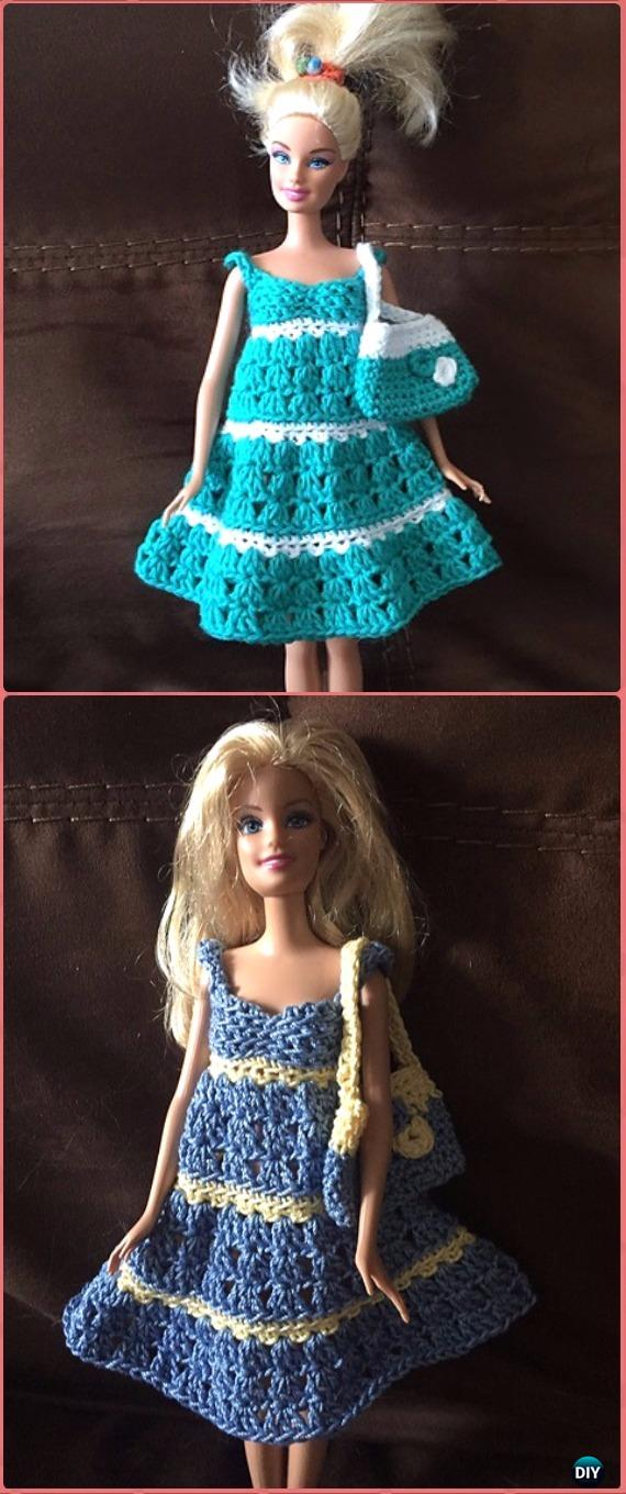 Crochet Barbie Two Colour Sundress And Bag Free Pattern Crochet