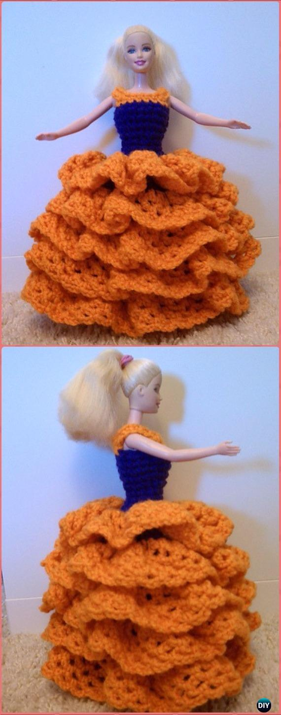 Crochet Barbie Slip on Dress with Puffy Skirt and Ruffles Free Pattern - Crochet Barbie Fashion Doll Clothes Outfits Free Patterns