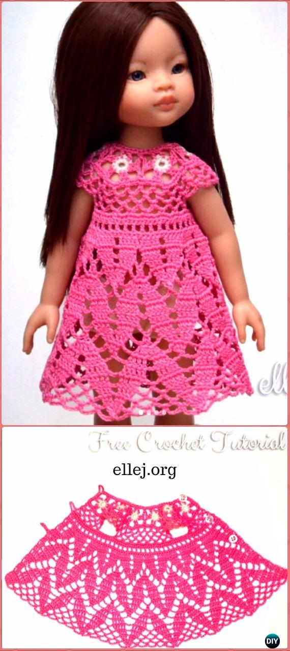 Crochet Leaf Stitch Doll Dress Free Pattern Crochet Barbie Fashion