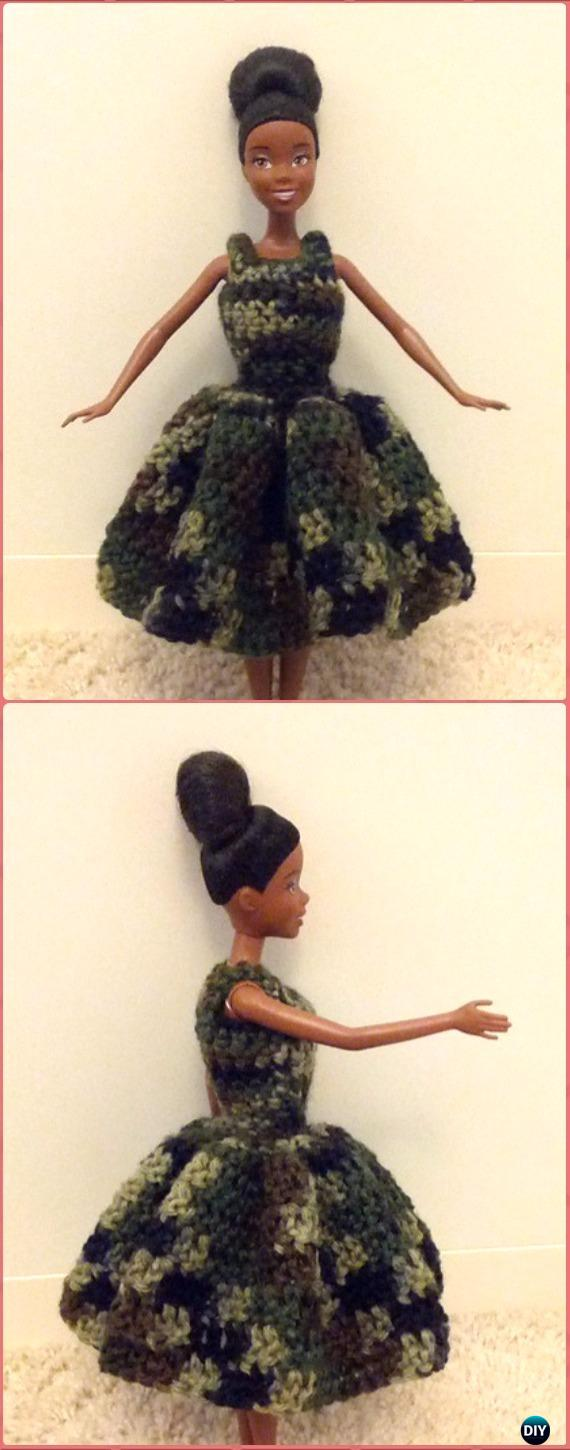 Crocheted Barbie Wavy Skirt Dress Free Pattern - Crochet Barbie Fashion Doll Clothes Outfits Free Patterns