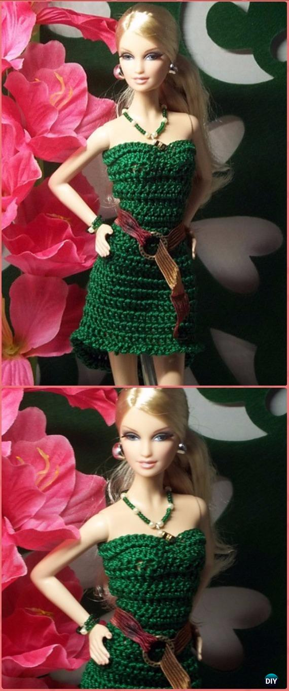 Crochet Barbie High Low Cocktail Dress Free Pattern - Crochet Barbie Fashion Doll Clothes Outfits Free Patterns