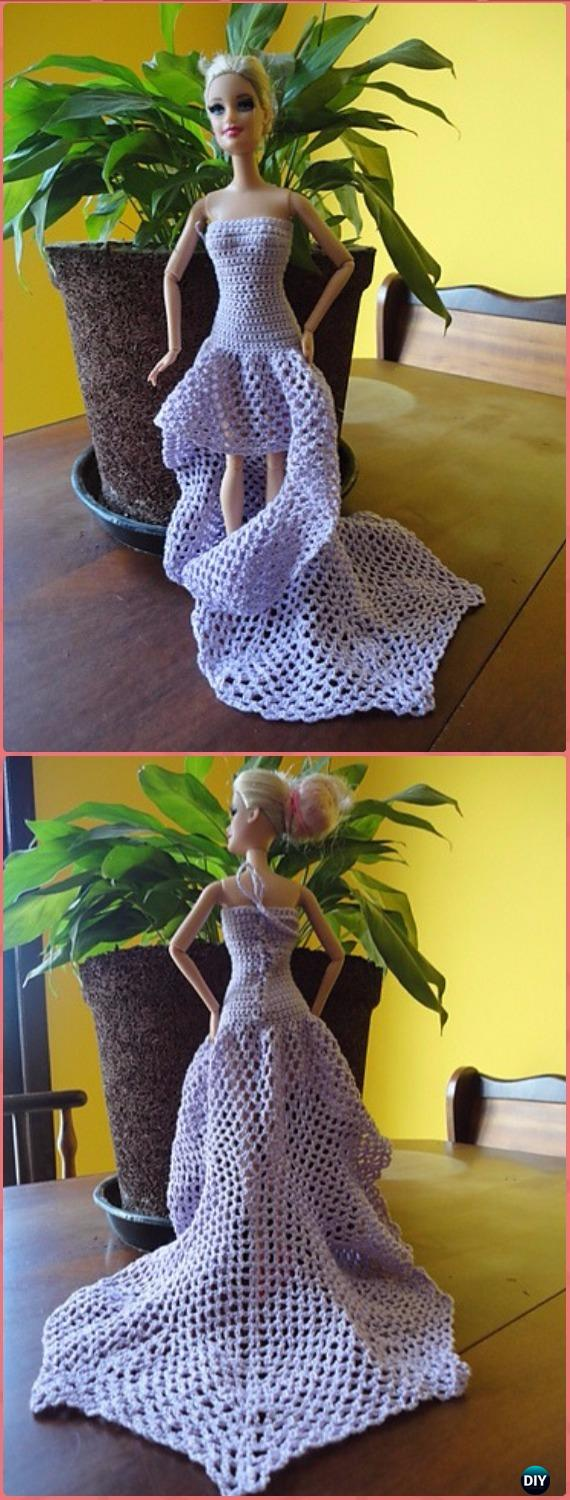 Crochet Barbie Doll Long Dress Free Pattern - Crochet Barbie Fashion Doll Clothes Outfits Free Patterns
