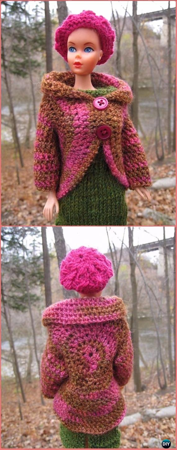 Crochet Barbie Circle Jacket Free Pattern - Crochet Barbie Fashion Doll Clothes Outfits Free Patterns
